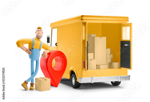 Obraz Truck delivery service and transportation. 3d illustration. Cartoon yellow car with driver character and pin sign. Parcel tracking concept. - fototapety do salonu
