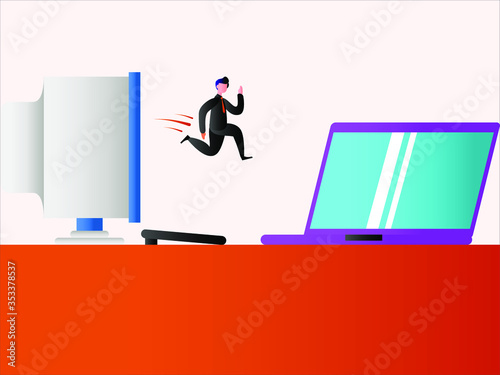 Photo Business technology vector concept: Businessman jumping from a vintage PC monito