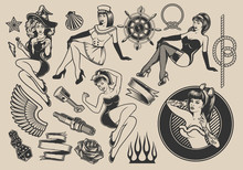Set Of Vector Illustrations With Girls With Elements For Design