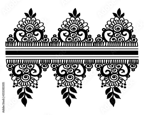 Fotografering Black and White floral pattern