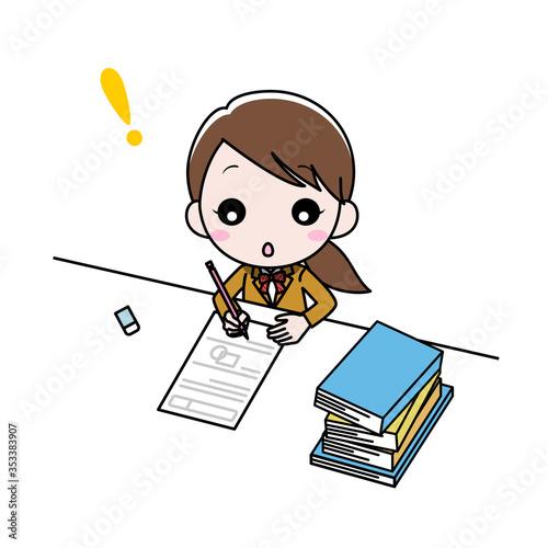 Photo 勉強していてひらめいた女の子
