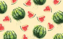 Watercolor Watermelon Pattern ...
