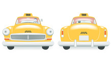Vintage Yellow Taxi Car. Front...