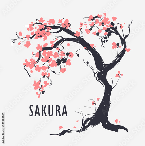 Fotografie, Obraz Sakura branch with flowers. Vector illustration