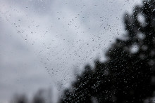 Drops On The Windshield Of The Car In The Background Refocusing Trees. Texture Or Copyspace For Text