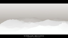 Worlds Beyond Abstract Landscapes. Vector Beautiful Misty Fog Over Mountain Slopes. Abstract Gradient Eroded Terrain Surface Background. Colorful Waves.