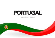 Portuguese Waving Flag Banner. Portugal Restoration Of Independence Anniversary Poster. National Holiday Celebration.