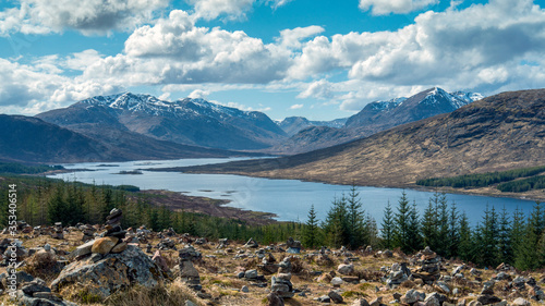 Loch Loyne - Spring View over stone cairns towards Gleouraich (left) and Craig M Canvas Print
