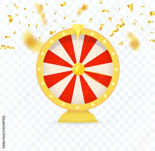 Valokuvatapetti Golden fortune wheel icon, random choice wheel with falling candy, vector isolated illustration on transparent background