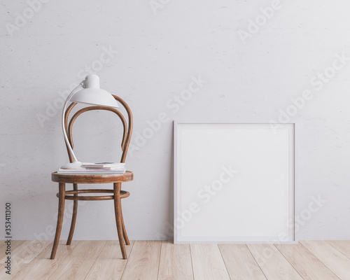 Leinwand Poster Scandinavian room interior with mock up photo frame with brown bamboo chair, books and white lamp beautiful  room and design