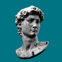 Funny Illustration Of Michelangelo's David Classical Head Bust Sculpture From 3D Rendering With Modern Hand Drawn Minimalist Fake Tattoos And Piercings And Isolated On Turquoise Background.