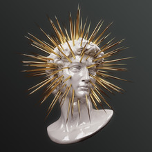 Abstract Illustration From 3d Rendering Of White Porcelain Bust Of Male Classical Sculpture Head With Bursting Gold Spikes.