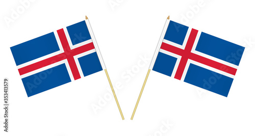 Two small Icelandic flags isolated on white background, vector illustration Wallpaper Mural