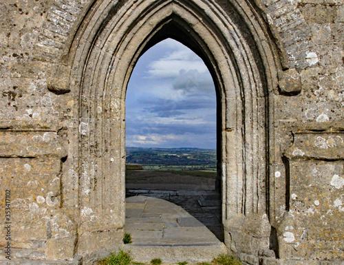 Fényképezés The doorway of St Michael's church on the top of Glastonbury Tor in Somerset, Un