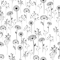 Fototapeta Dmuchawce Vector background. Wildflowers and herbs. Silhouettes of plants. Seamless pattern. Use printed materials, signs, objects, sites, maps.