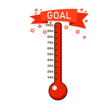 Full Goal Thermometer Icon. Cl...