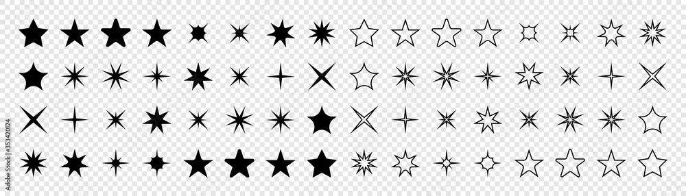 Fototapeta Stars collection. Star vector icons. Black set of Stars, isolated on transparent background. Star icon. Stars in modern simple flat style. Vector illustration