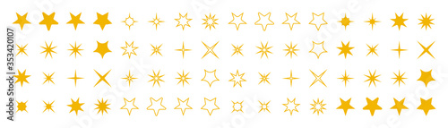 Obraz Stars collection. Star vector icons. Golden set of Stars, isolated. Star icon. Stars in modern simple flat style. Vector illustration - fototapety do salonu
