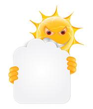 Evil Summer Sun Emoticon. Angr...