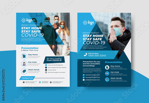 Obraz COVID-19 Flyer Layout Pack with Blue Accents - fototapety do salonu
