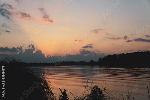 Fototapety, obrazy: summer dawn on a big lake, eyes of a fisherman on night fishing