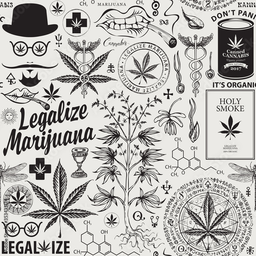 Tapeta czarno biała  vector-seamless-pattern-in-retro-style-on-the-theme-of-marijuana-legalization-black-and-white-repeatable-background-with-hand-drawn-hemp-leaves-cannabis-plant-hipster-face-and-other-sketches