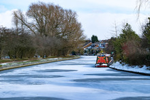 Leeds To Liverpool Canal Frozen In Winter At Blackburn, Lancashire, England