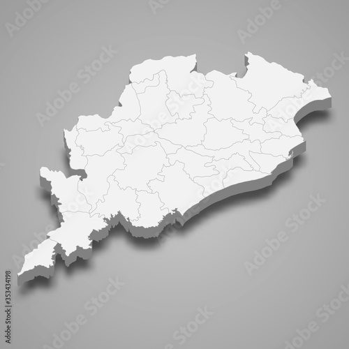 Fototapeta orissa 3d map state of India Template for your design