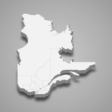 Quebec 3d Map Province Of Canada Template For Your Design