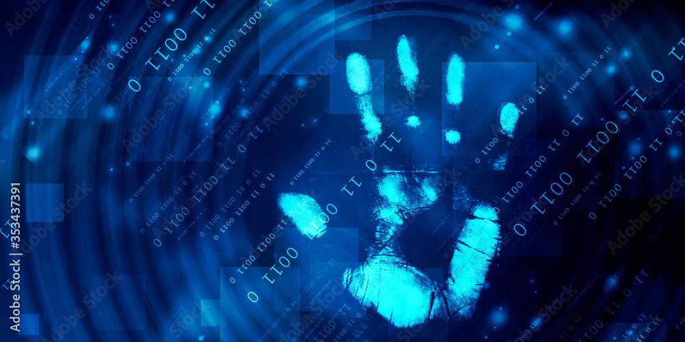 Fototapeta Fingerprint Scanning Technology Concept 2d Illustration