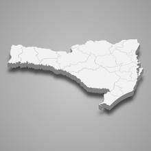 Santa Catarina 3d Map State Of...
