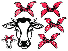 Cow Head With Red Bandanas. Ve...