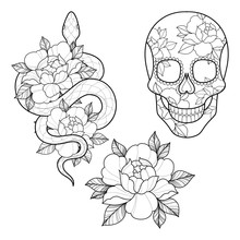 Set Of Three Tattoo Sketch Wit...