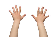 Two Child Hands. Isolated On W...