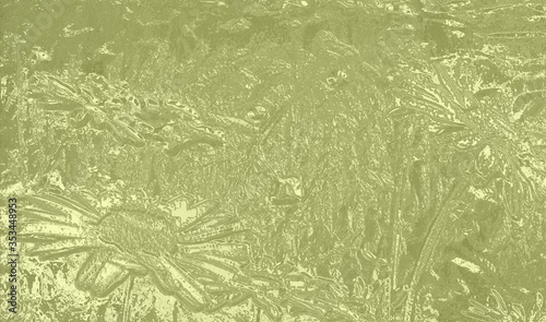 Obraz na plátne 3D bas relief of blooming daisies in metallic brass, gold effect, space for text