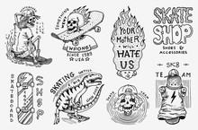 Skateboard Shop Badges Set. Di...