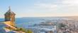 Alicante, Spain - January 10, 2019: Santa Barbara Castle on Mount Benacantil above Alicante, Valencia, Spain