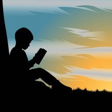 Silhouette Of Kid Reading A Bo...