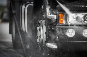 Detailed Washing Semi Truck Using Pressure Washer