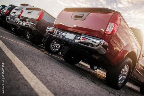 Obraz Line of Parked Modern Vehicles - fototapety do salonu