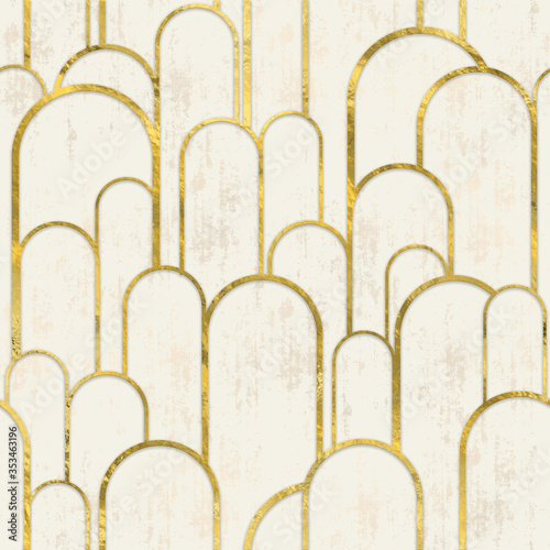 pattern archway gold and white Fototapete