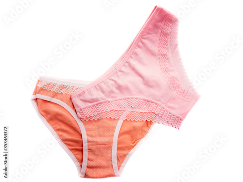 Obraz Set of panties isolated on a white background. Panties for the girl. Kit of women's panties. Pink underwear. - fototapety do salonu
