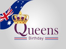 Queen's Birthday On White Background. Vector Illustration.golden Crown With Australian Flag