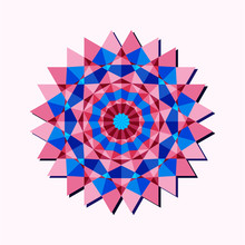 This Is A Polygonal Pattern. This Is A Blue And Pink Geometric Mandala. Kaleidoscope Pattern. This Is A Vector Arabic Geometric Symbol.