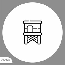 Lifeguard Tower Vector Icon Si...