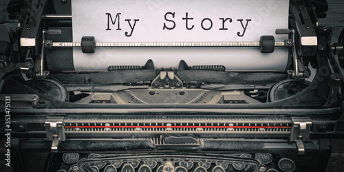 Fototapeta Storytelling background - Old retro vintage close-up of a typewriter with the words