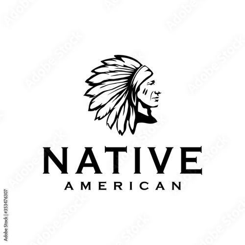American Native Indian Chief Headdress Logo Design illustration Wallpaper Mural