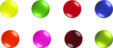 Set Of 8 Colorful Buttons Or C...