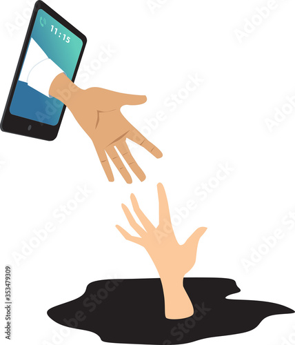 Fotomural Helping hand coming out of a smartphone to catch a drowning person as a metaphor