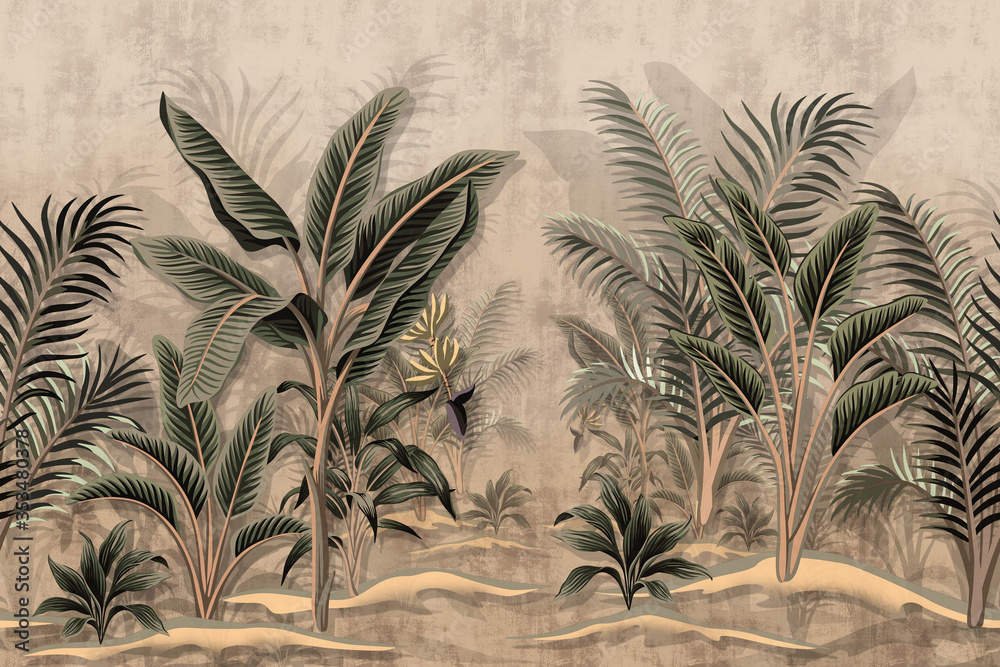 Fototapeta Vintage tropical palm trees banana palm tree dirt background. Wallpaper of Tropical Rain Forest